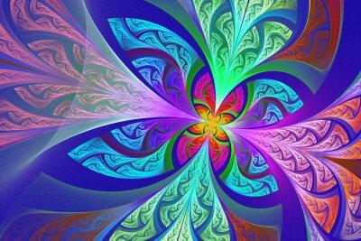 Sticker Multicolore Fleur de fractale ou fond de papillon en tache-g
