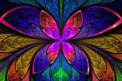 Sticker Multicolore motif fractal symétrique comme fleur ou papillon