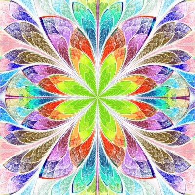 Sticker Multicolore, symétrique, fractale, fleur, taché, verre, fenêtre