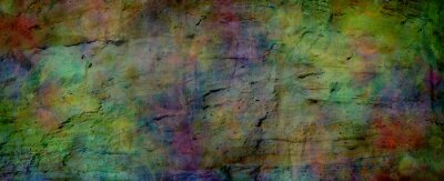 Sticker Multicoloured grunge rock face banner background - textured rough earthy richly deeply coloured wide banner ideal for a grunge background