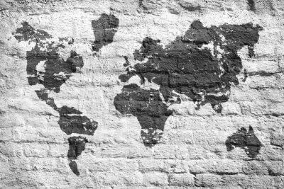 Sticker Mur blanc et une carte d'image du monde