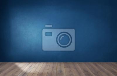 Sticker Mur bleu foncé dans une pièce vide avec un plancher en bois