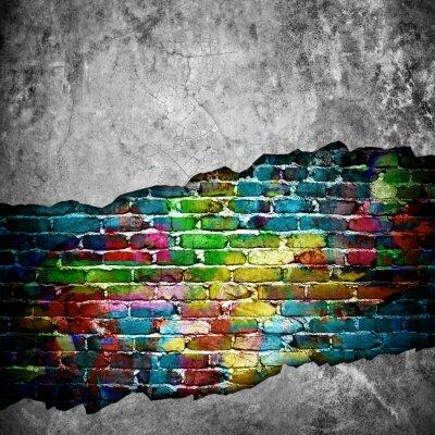 Sticker mur de briques fissurées