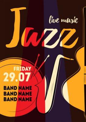 Sticker Musique, affiche, vecteur, Illustration, événement, conception, party, affiche, carte postale, ou, invitation. Affiche d'événement avec tambour, saxophone, basse