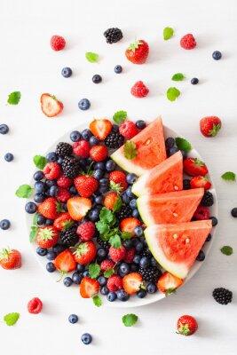 Sticker myrtille, fraise, framboise, mûre, melon d'eau