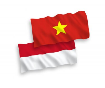 Sticker National vector fabric wave flags of Indonesia and Vietnam isolated on white background. 1 to 2 proportion.