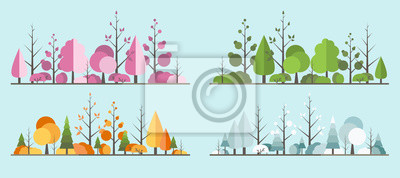 Sticker Natural all seasons landscape with a tree in the flat style. a beautiful park.Environmentally friendly natural landscape.