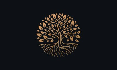 Sticker Natural Vector Tree Logo Illustration Nature Tree Golden Roots and Growth Design Template