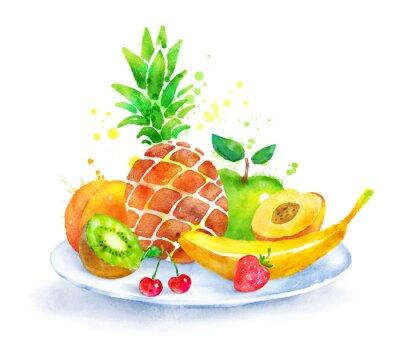 Sticker Nature morte aux fruits sur la plaque.