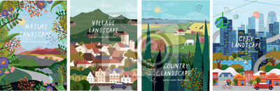 Sticker Nature, village, country, city landscapes. Vector illustration of natural, urban and rustic background for poster, banner, card, brochure or cover.