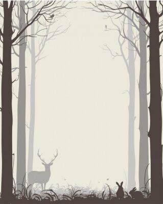 Sticker Naturel, fond, silhouettes, Arbres, animaux