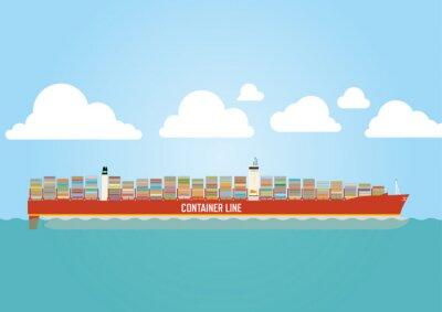 Sticker Navire-conteneur chargé de cargaison