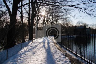 Neige sur la passerelle à côté du lac et de la clôture dans le parc avec des arbres de la silhouette