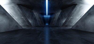Sticker Neon Laser Blue Sci Fi Modern Concrete Cement Dark Empty Asphalt Reflective Grunge Hall Room Corridor Tunnel Spaceship Glowing White Cinematic Daylight Rays Glow 3d Rendering