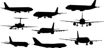 Sticker neuf avions silhouettes isolées sur blanc