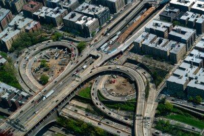 new york bronx alexander hamilton bridge aerial view from helicopter