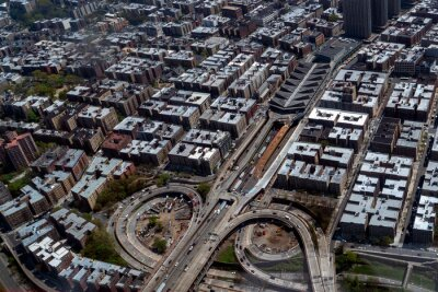 new york bronx I 95 to alexander hamilton bridge aerial view from helicopter