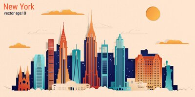 Sticker New York city colorful paper cut style, vector stock illustration. Cityscape with all famous buildings. Skyline New York city composition for design.