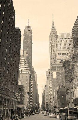 Sticker New York City Manhattan vue sur la rue en noir et blanc