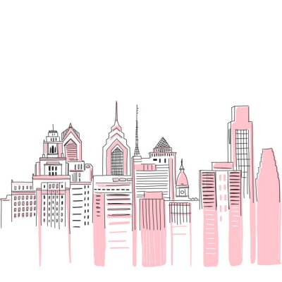 Sticker New York city scape background. Hand drawn vector doodle graphics. Pink and black colours. Perfect for girlish design.