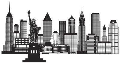 Sticker New York City Skyline noir et blanc Illustration Vecteur