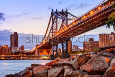 Sticker New York City, USA at the Manhattan Bridge spanning the East River.