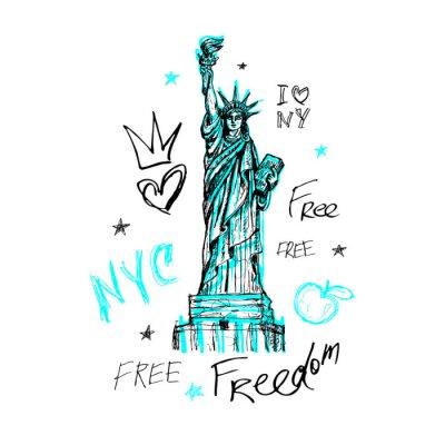 Sticker New York, conception de t-shirt, affiche, impression, lettrage statue de la liberté, carte, graphiques de tee-shirt, tendance, coup de pinceau sec, marqueur, stylo de couleur, encre, aquarelle. Illust