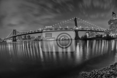 New York manhattan bridge night view from brooklyn in b&w
