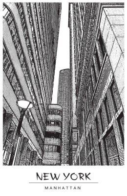 Sticker New York, Manhattan. Ruelle dans le centre-ville, paysage urbain avec des gratte-ciel célèbres. Illustration vectorielle dans le style de gravure. Dessin noir isolé sur fond blanc. Vue en perspective