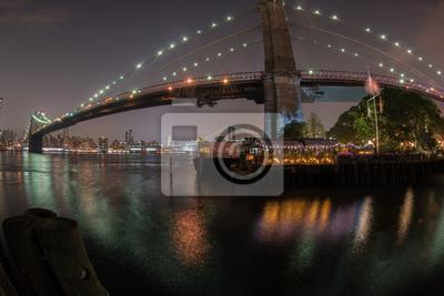New York Manhattan vue pont de nuit de Brooklyn