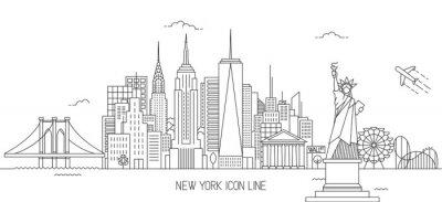 Sticker New York Skyline ligne art style