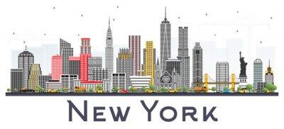 Sticker New York Usa Skyline avec des gratte-ciel gris isolé sur fond blanc.