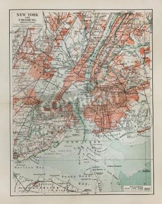 Sticker New York vieille carte de la fin du 19ème siècle