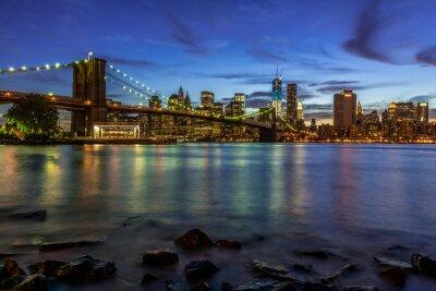 Sticker New York, ville, Coucher soleil, paysage, bruxelles, pont, USA