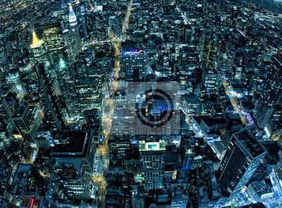 New York, vue de nuit panorama paysage urbain