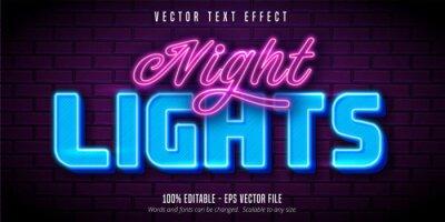 Sticker Night lights text,  neon style editable text effect