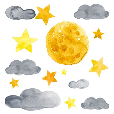 Sticker Night sky with moon, stars and clouds watercolor illustration set