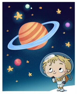Sticker niño en el espacio astronauta