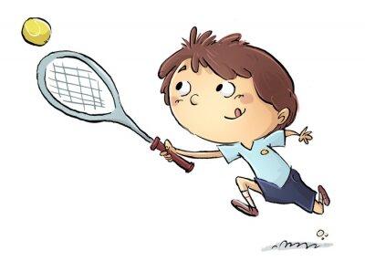 Sticker Niño jugando a tenis