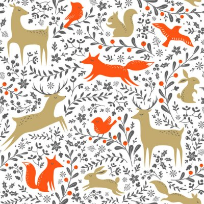 Sticker Noël, floral, bois, animaux, seamless, modèle, blanc, fond