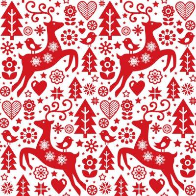 Sticker Noël Folk Rouge Modèle Vectorielle Continue Art Populaire Scandinave