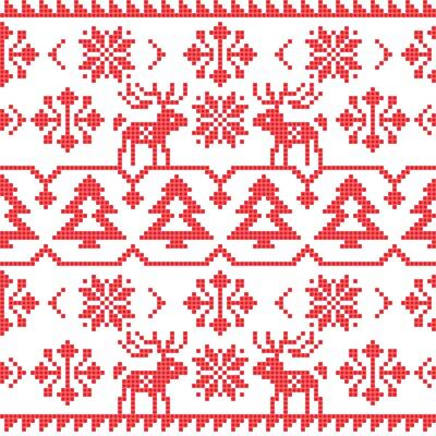 Sticker Noël, hiver, tricot, seamless, modèle