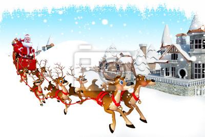 Noël Père Noël avec son traîneau à proximité des bâtiments