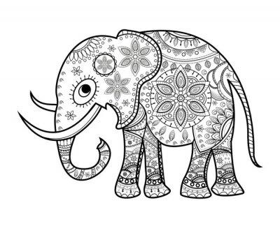 Sticker Noir, blanc, décoré, éléphant, blanc, elefante, decorato, vettoriale, colorare, su, sfondo, bianco