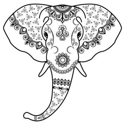 Sticker Noir, blanc, éléphant, tête, Mehndi, Indien, style.Vector, Illustration, isolé, blanc, fond