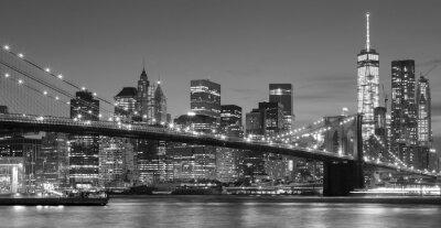 Sticker Noir, blanc, Manhattan, waterfront, nuit, NYC