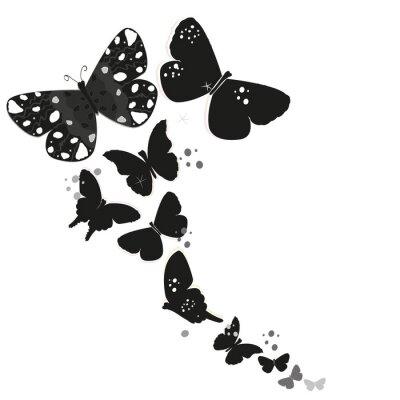 Sticker Noir, papillon, conception, résumé, décoratif, fleurs, vecteur, fond
