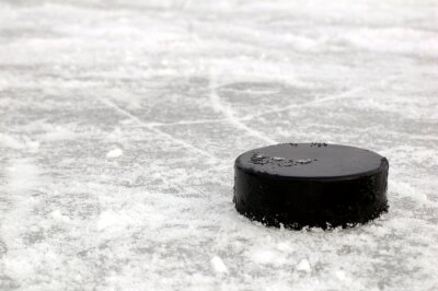 noir rondelle de hockey sur la patinoire