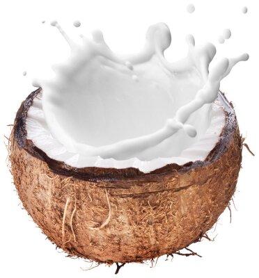 Sticker Noix de coco avec Milk splash intérieur.