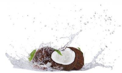 Sticker Noix de coco craquelée dans les projections d'eau sur fond blanc